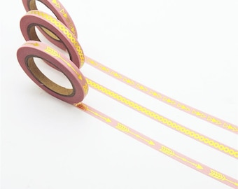 3 x Washi tape pink and gold