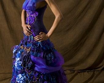 Madame X  Wedding Dress Ultraviolet Couture Crochet Eco Friendly Organic Cotton Bustle by Krisztina Lazar