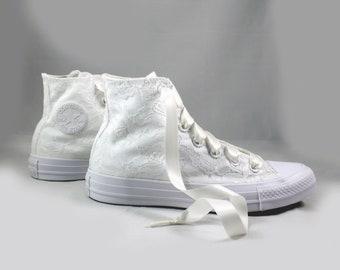 Lace High Top Converses --Bridal Converses -- Wedding Tennis shoes  - Wedding Converse High Top-- Custom Converses