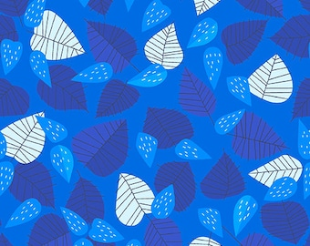 SALE The Lovely Hunt - Leaf in Blue - Lizzy House - Andover (A-5676-B1)