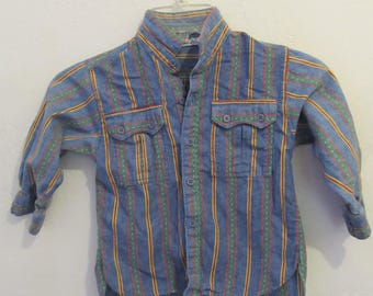 A Boy's Vintage 80's,Embroidered Striped CHAMBRAY Denim Type Shirt By CHOOZIE.2T