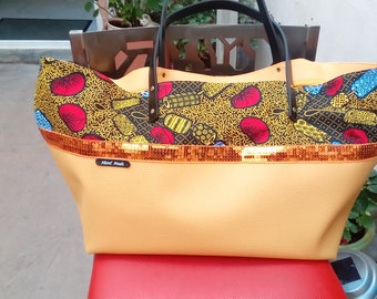 Orange faux leather and wax Beach tote bag