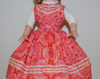 """Vintage Doll Dress, Vintage Doll Clothes, 1940's Handmade Dresses For a 16"""" Doll, Paisley Doll Dress, Full Skirted Doll Dress"""