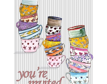 Printable stacks of teacups for decor or a greeting card
