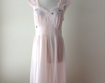 1960's pink nightgown - 60's stern maid lingerie