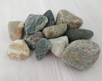 Colored Beach Rocks Colored Stones Round Rocks Beach Stones Craft Stones Aquarium Terrarium Rock Garden Stones Craft Rocks - 12 Smooth  (F)