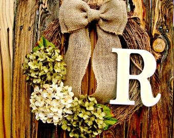 Green and Cream Hydrangea Wreath, wreath with monogram, Mongram Wreath, Initial Wreath, Everyday Wreath, Year Round Wreath, fall wreath