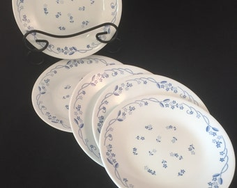 """Set of 5 Provincial Blue Dessert/Bread Plates 6-3/4"""" by Corelle, Microwavable Made in USA"""