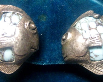 """Vintage Fish Earrings With Faux Turquoise Cabochons, Marked """"Miracle"""""""