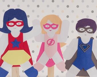 Party gefallen Superhelden Paper Doll Puppe Craft Kits Satz von 6 Puppen