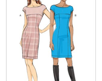 Vogue Dress Pattern V9196 - Misses' Princess Seam Dress with Yokes and Back-V in Two Variations - Very Easy Vogue Pattern
