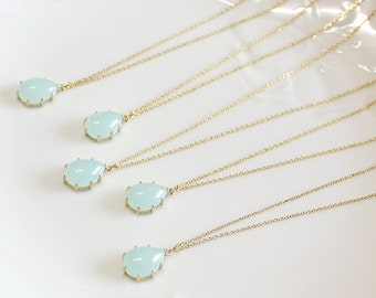 Bridesmaid gifts - Set of 4,5,6 - Mint drop pendant necklace