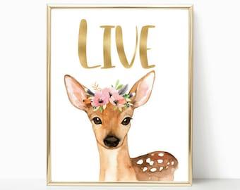 Woodland Animal Decor, Forest Animal, Nursery Prints, Nursery Art, Baby Deer Nursery, Woodland Nursery, Woodland Nursery Prints, Floral Deer