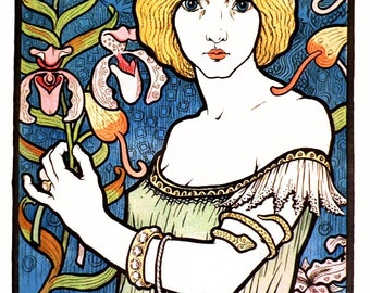 Vintage French  Poster Art Nouveau Salon des Cent 17th Exhibition