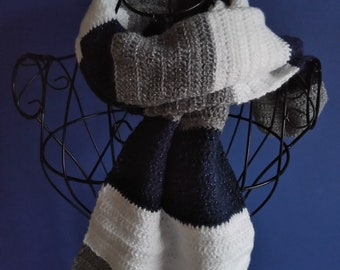 Crocheted Scarf in Navy, Grey and White