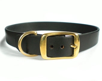 """1"""" Black Chahin English Bridle Leather Dog Collar w/ Solid Brass Hardware and Square Buckle"""