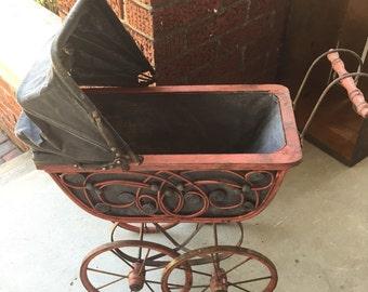 Vintage Doll Wicker  Pram Carriage/Stroller