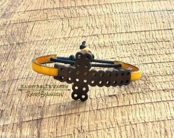 Leather Cross Bracelet brown yellow spiritual inspirational faith hope gratitude positive attitude thin band unisex rustic Christian