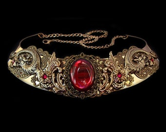 Dragon Necklace - Medieval - Fantasy - Renaissance - Khaleesi - Daenerys Targaryen - Bronze - Red Ruby - Burgundy - Queen - Game of Thrones