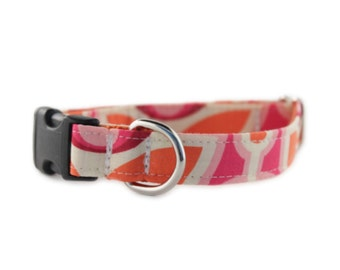 Pink Dog Collar - Orange and Pink Dog Collar - Camilla Dog Collar - Adjustable Dog Collar - Flower Dog Collar - Sophisticated Pup