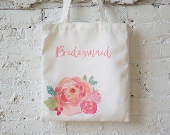 Floral Bridesmaid Tote,Bridesmaid Gift,Bridal Tote,Bridesmaid Proposal,Library Bag,Wedding Favor,Gift,Bridal Party,Beach Bag,Shower Gift