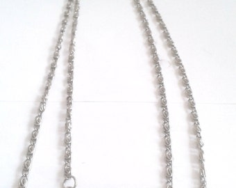 Vintage Twisted Double Silver Chain Necklace