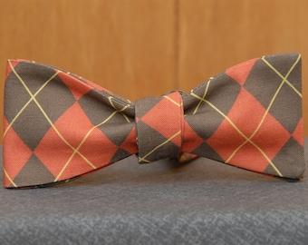 Orange and Brown Argyle  Bow Tie