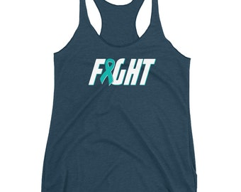 Ovarian Cancer Tank Top - Fight Cancer Tank Top - Ovarian Awareness - Teal Ribbon - Ovaries Cancer - Survivor Women's Racerback Tank Top