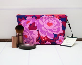 Floral Makeup Pouch - Small Makeup Bag - Purple Cosmetic Bag - Travel Toilet Bag - Travel Makeup Bag - Fabric Zipper Pouch - Gift for Her