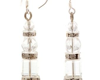 Deco crystal drop bridal Earring, bridal jwelery, bridal jewellery, wedding earrings, wedding accessories, crystal , 1920's Ivy er1030
