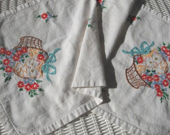 Vintage Handmade Linen Dresser Scarf with Embroidered Kittens presented by Donellensvintage