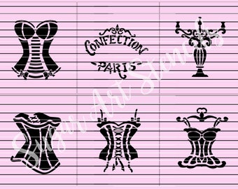 corset cookie stencils set of 6 designs girly vintage  SL201