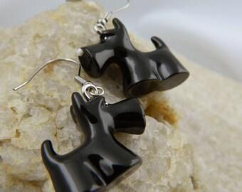 Black Scottie Resin Earrings
