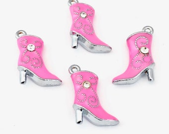 4 western boot 3D charms  ename and silver color,22mm  # CH 562