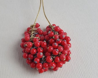 Vintage Japanese red glass bead drops