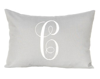 Personalized Pillow - Monogram Decorative Pillow - Letter Pillow - Solid Gray Pillow-  Grey Pillow - 12 x 16 - Dorm Decor
