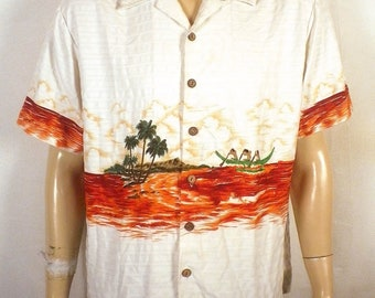 vtg 60s Kennington amazing Hawaiian Camp Shirt loop collar canoe graphics SZ XL