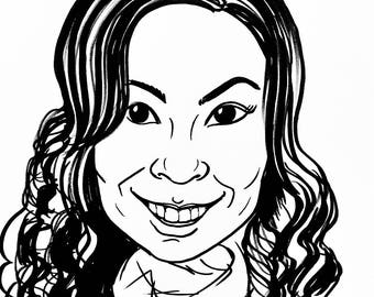 """Black and white one person  """"gift-quality"""" headshot caricature from photo"""