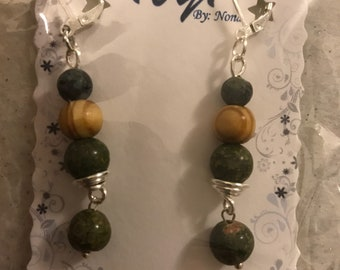 Dangle olive, wood, green earrings