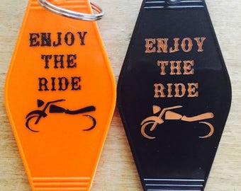 ENJOY THE RIDE keytag -- The Motorcycle Line
