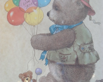 """Vintage """"I Love You"""" Lithograph of Teddy Bear with Balloons and Toys-Giordano"""