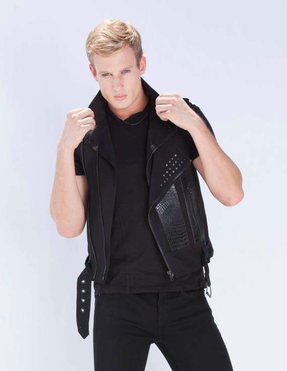 AUTOMATON TEE - Men's Muscle Shirt Black T-Shirt Leather Industrial Goth Armor Menswear Cruelty Free Ninja Gothic Cyber Futuristic Festival vdTitM4b