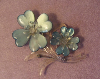 """Vintage Lucite Blue Flowers Brooch 4"""" high  - Runway - Couture - Statement Piece  REDUCED"""