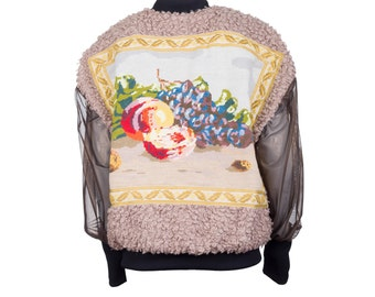 Bomber jacket MONA - curly fake fur with vintage embroidery XL/42