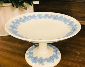 Vintage Wedgwood Lavender Blue And White Queensware Pedastal Compote Stand Tray - Made In England - Barleston of Etruria - Grapevine
