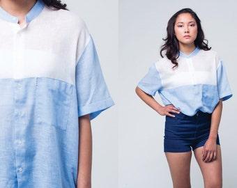 Blue and white 90s COLOUR BLOCK short sleeve shirt 1990s Vintage  LINEN blouse with  mandarin collar Medium, Large, m, l