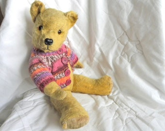 "1950's Pedigree Bear -  18"" Vintage Mohair Bear - Working Squeaker -1950's Toy - English Teddy"