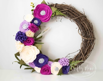 Purple Cream Felt Flower Wreath, Grapevine Wreath, Front Door Wreath, Mantel Wreath, Nursery Decor, Colorful Floral Decor