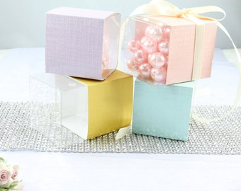 "50 Pastel Favor Box 3"" Wedding, Bridal Shower, Baby Shower, Party Favor Gift."