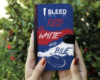 I Bleed Red, White and Blue Phone Wallet (Aussie Rules, Footscray)